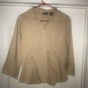 New York & Company Tan Dress Shirt